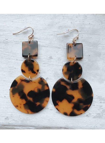 Brown Tortoise Geo Dangle Earrings