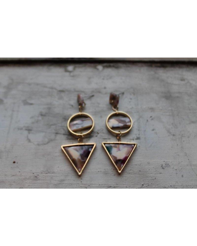 Bright Confetti Geo Triangle Earrings