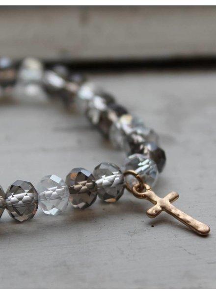 Grey Tone Cross Stretch Bracelet