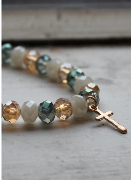 Multi Tone Cross Stretch Bracelet
