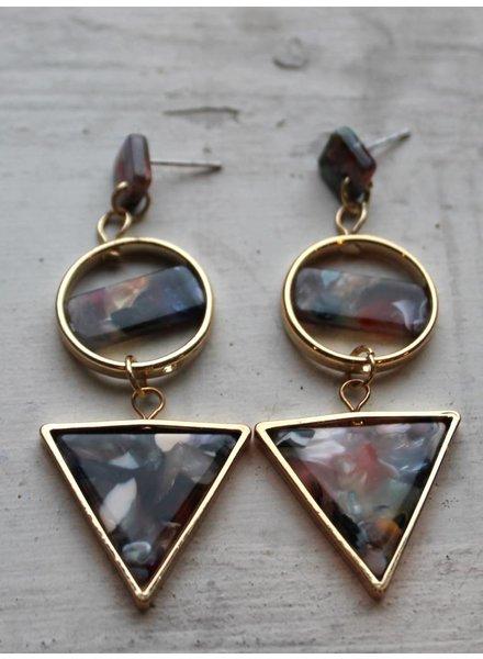 Muted Confetti Geo Triangle Earrings