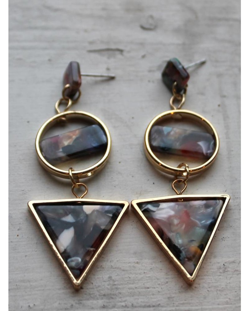 Muted Confetti Geo Triangle Earrings