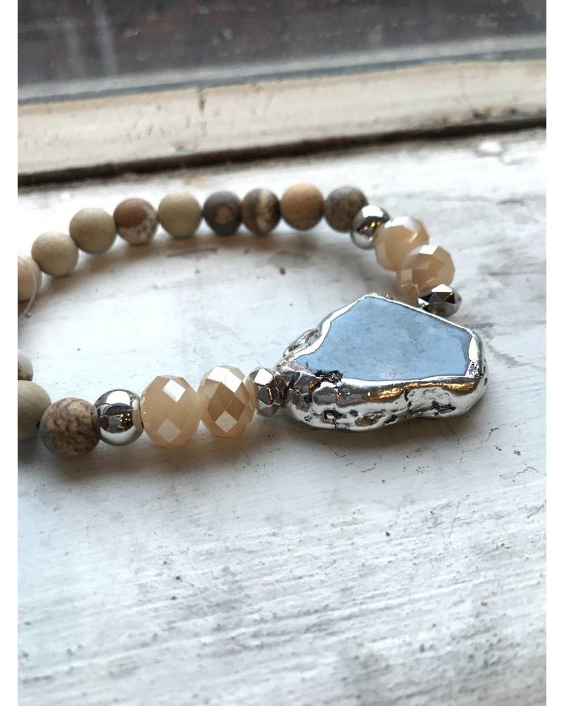 Turquoise and honey Statement Stretch Bracelet