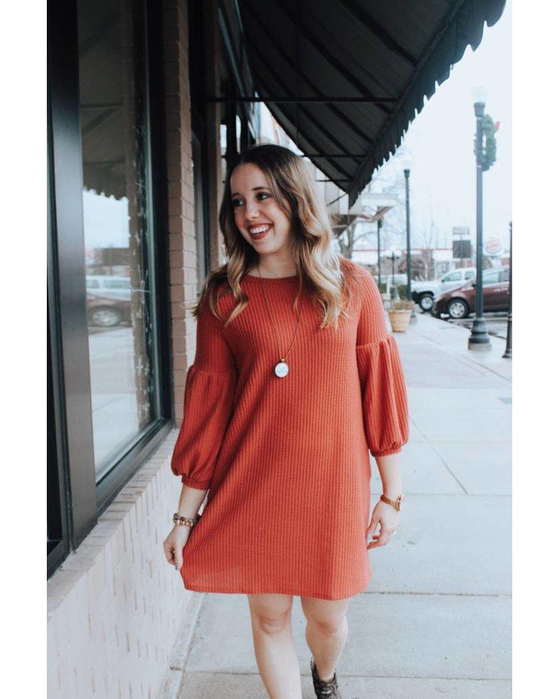 White Birch Rust Waffle Knit Puff Sleeve Dress