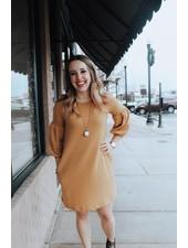 White Birch Mustard Waffle Knit Puff Sleeve Dress