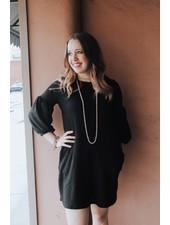 White Birch Black Waffle Knit Puff Sleeve Dress