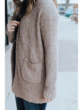 Trend Shop Mocha Popcorn Cardigan with Pockets