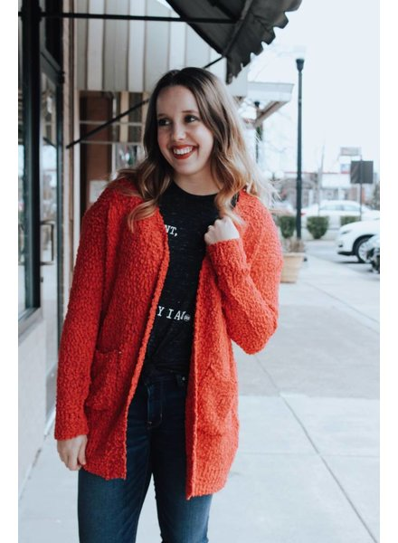 Trend Shop Rose Popcorn Cardigan with Pockets