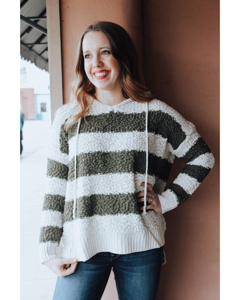 Trend Shop Olive Hooded Popcorn Stripe Sweater
