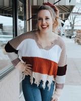 Trend Shop Color Block Distressed Sweater