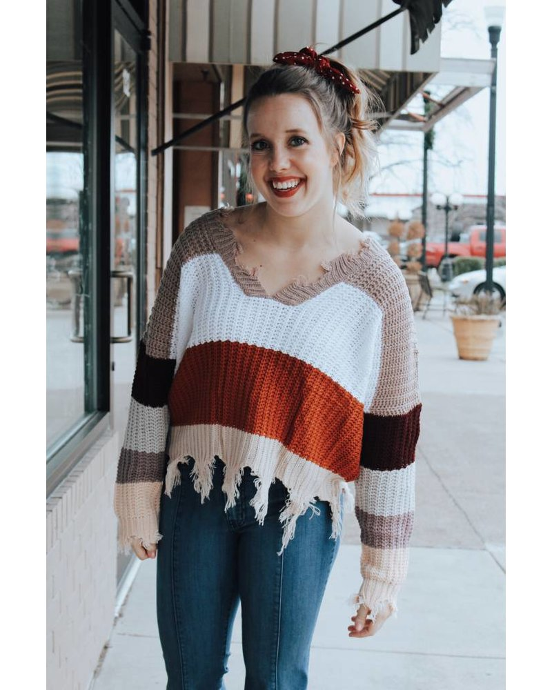 Trend Shop Color Block Distressed Sweater