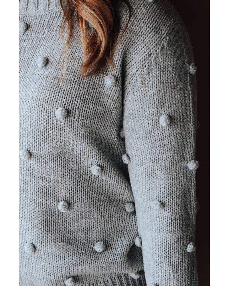&Merci Grey Crew Neck mini Pom Sweater