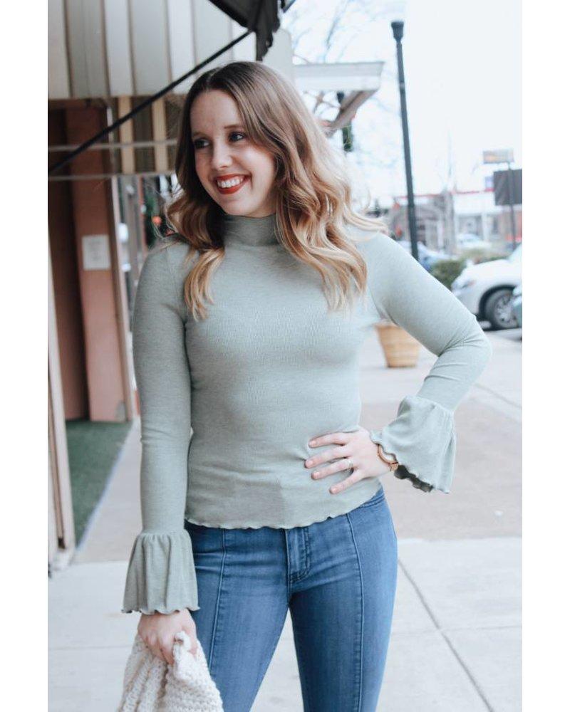 Alyssa Olive Mock Ruffle Top