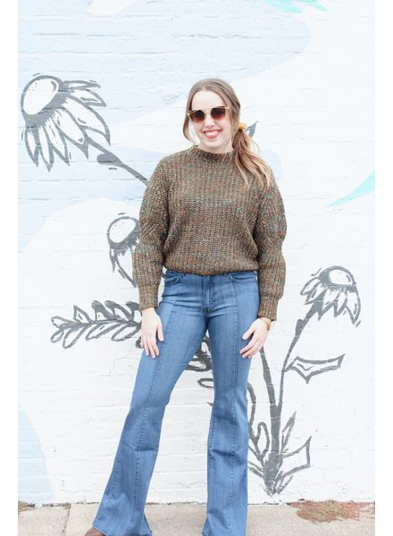 &Merci Olive Multi Color Slipnot Sweater