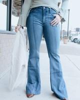 O2 Denim Mid Wash Front Seam Flare Jeans