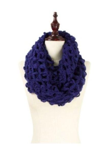 Oversized knit infinity scarf navy