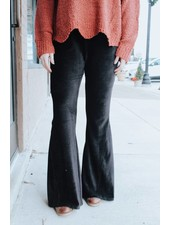 L.I.A Black Kate Solid Corduroy Pants