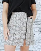 Promesa Sierra Snakeskin Zip Skirt