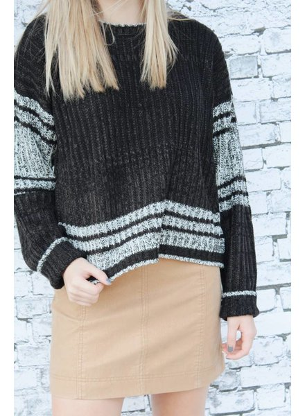 Hem & Thread Edgy Black Stripe Sweater