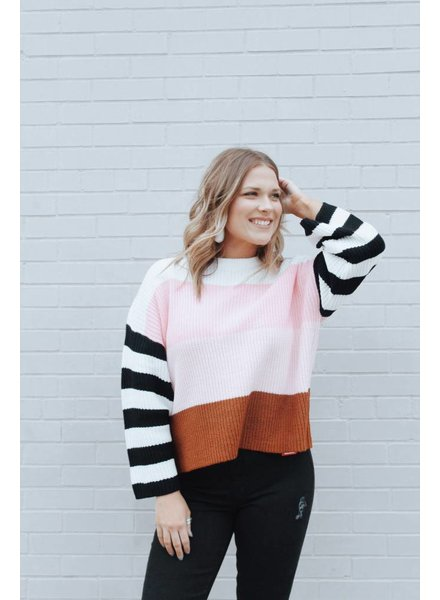 Wishlist Willow Color Block Chunk Sweater