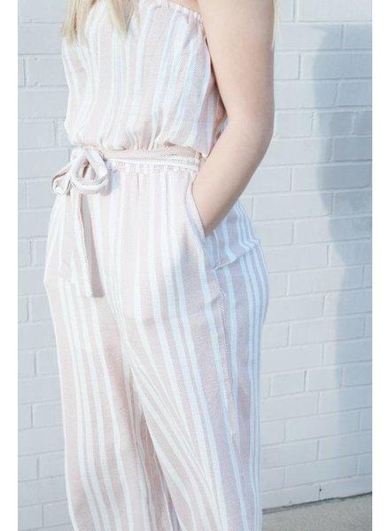 Hem & Thread Banded Berry Stripe Jumpsuit