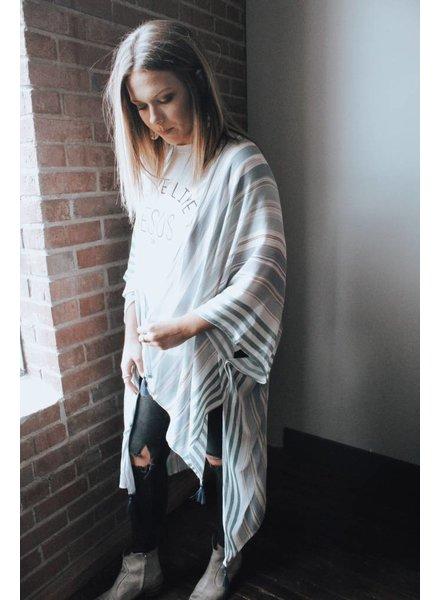 Hem & Thread Liv Stripe Tassel Kimono 6753W