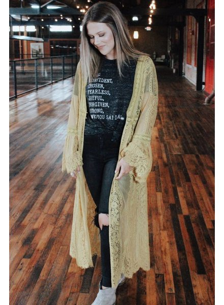 Jodifl Molly Mustard Lace Duster