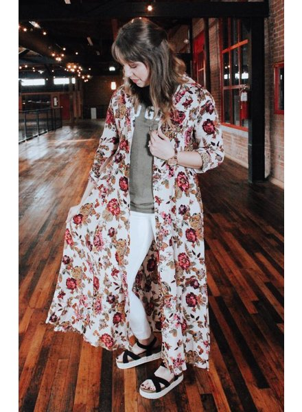 Jodifl Magenta Mixed floral Duster Dress
