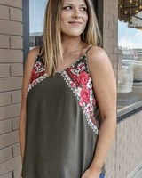 andree Sierra Olive Embroidery Tank
