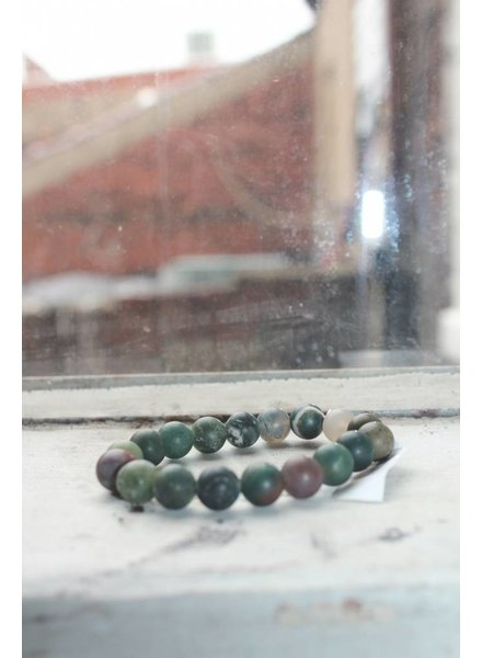 Natural Stone Woodland Green Bead Bracelet