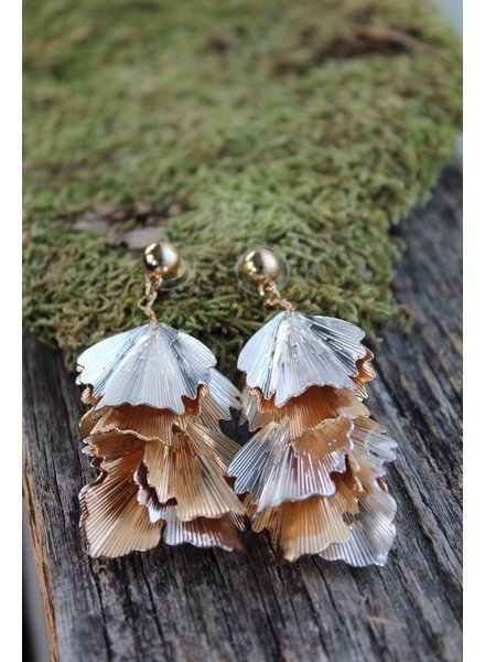 Golden Stella Plated Petal Dangle Earrings