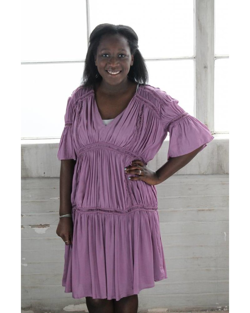 Listicle Ramona Tiered Mauve Dress LD0396