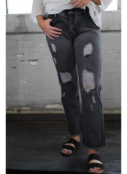 Cash Black Distressed Jeans JFP101