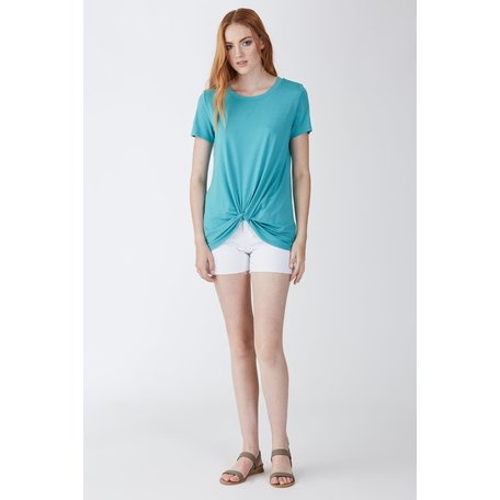 Julia Crew Neck Knot Front SS Tee