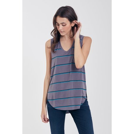 Esther Stripe Vneck Tank w/Pocket