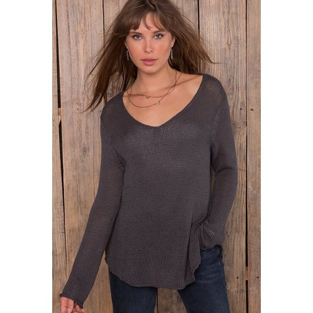K43C3W542 Shirt Tail V-Neck Tunic Cotton