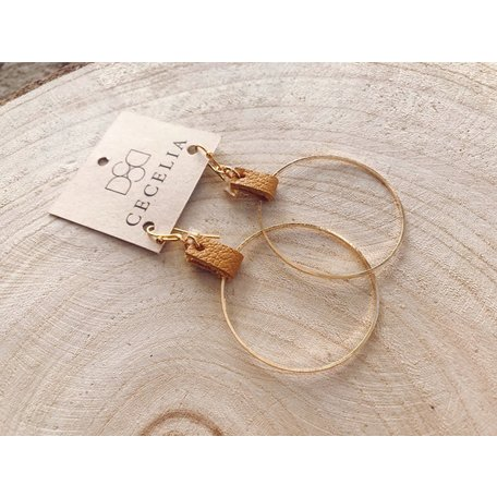 Leather Drop Hoop Earrings