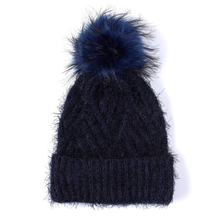 EC0183 Fuzzy Cable Hat with Pom