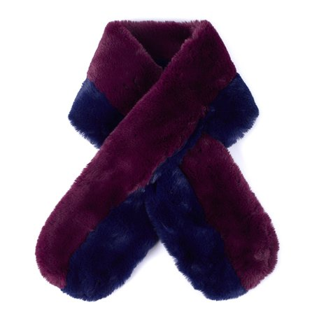 EC0205 Pull Through Faux Fur Colorblock Stole