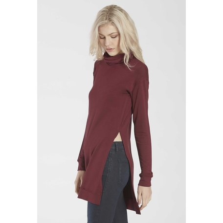 Imogen Funnel Neck Tunic w/Side Vent LS