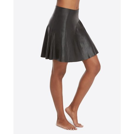 50156R Faux Leather Skater Skirt