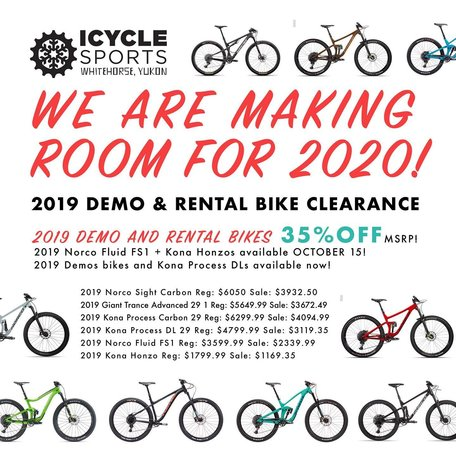 2019 Demo and Rental Bike Clearance