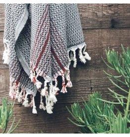 Smyrna Collection Smyrna Black Rock Peshtemal Black/Red Stripe Towel