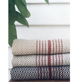 Smyrna Collection Smyrna Black Rock Peshtemal Beige/Red Stripe Towel