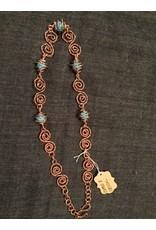 Linda Meadows Necklace Copper & Blue Crystal