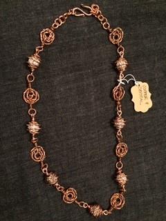 """Linda Meadows Necklace Copper & Crystal 18"""""""