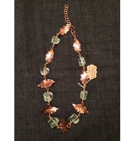 "Linda Meadows Necklace Glass 22"" Hand Wrought"