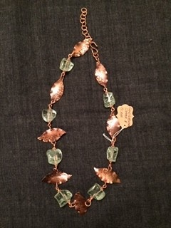 """Linda Meadows Necklace Glass 22"""" Hand Wrought"""