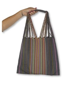 Lumily Lumily Poppy Woven Hammock Bag Purple/Gray