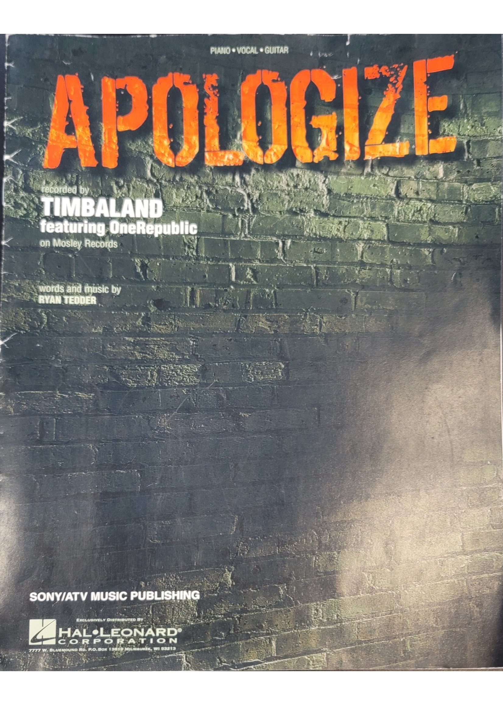 HAL LEONARD LIVRE APOLOGIZE/TIMBALAND-ONE REPUBLIC